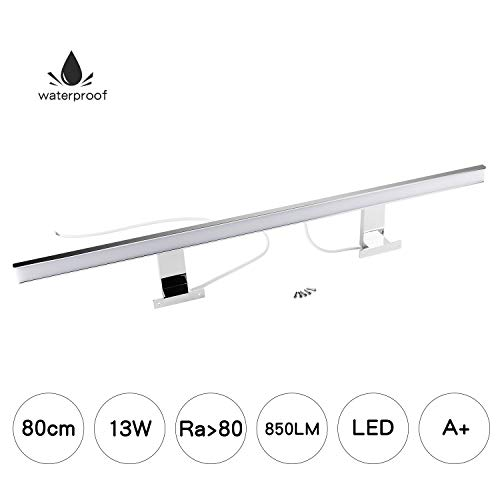 Luz de Espejo LED 80cm Blanco Neutro Luz de Baño Led Cromada 850LM 13W Luz de pared LED IP44 Clase...