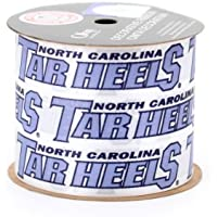 UNIVERSITY OF NORTH CAROLINA GIFT WRAP RIBBON-NORTH CAROLINA TAR HEELS CRAFT RIBBON-2 1/2 WIDTH, STRIPE-NCAA RIBBON by Offray