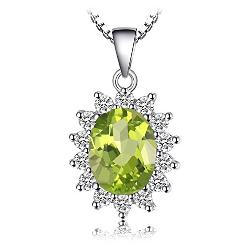 Jewelrypalace Prinzessin Diana William Kate 2.2ct Natürliche Peridot Solid 925 Sterling Silber Halo Anhänger Halskette 18 Zoll