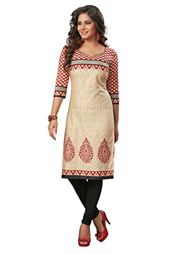 Salwar Studio Women's Beige & Maroon Cotton Floral, Geometric Printed Unstitched Kurti Fabric (only Kurti Fabric)  available at amazon for Rs.475