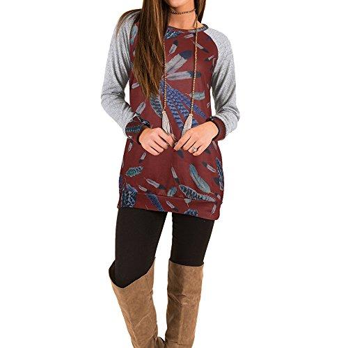 Bonboho Femme T-Shirt Sweatshirt Plumes Imprimé Manche Longue Patchwork Hauts Tops S M L XL Bordeaux