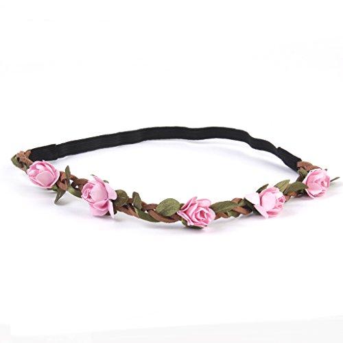 Phenovo Bandeau de Fleurs Elastique Bohème Accessoire pour Eté Plage Mariage Festival - Rose