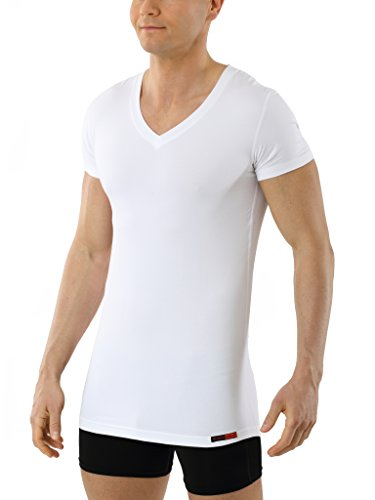 Albert Kreuz V-Funktionsunterhemd Business Herrenunterhemd aus Coolmax/Stretch-Baumwolle atmungsaktiv Sommer-Winter Klima-regulierend trockene Haut Kurzarm weiß 6/L