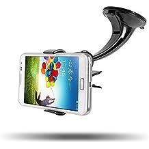 IBRA - Soporte Móvil Coche con Ventosa Giro 360 Grados Soporte Teléfono Coche Universal y Montaje Parabrisas Salpicadero para iphone 7/ 6/ 6s / 6 plus / 6s plus / 7 Plus / ipad / Sony Xperia / Samsung Galaxy s6, etc