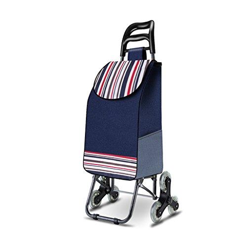 ettern Treppen Falten Trolleys alte Leute kaufen Lebensmittelwagen kleine Wagen zu Hause Trolley tragbare Supermarkt Push-Cart (Color : Blue, Size : 30 * 22 * 95cm) ()