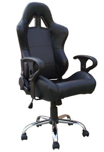 Black Leather Racing Bucket Seat Office Chair