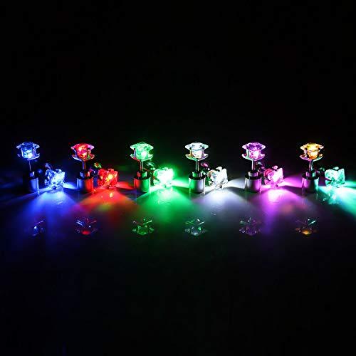 Leuchtender Schmuck LED Quadrat-Ohrstecker beleuchet Ohr Farbe Rot
