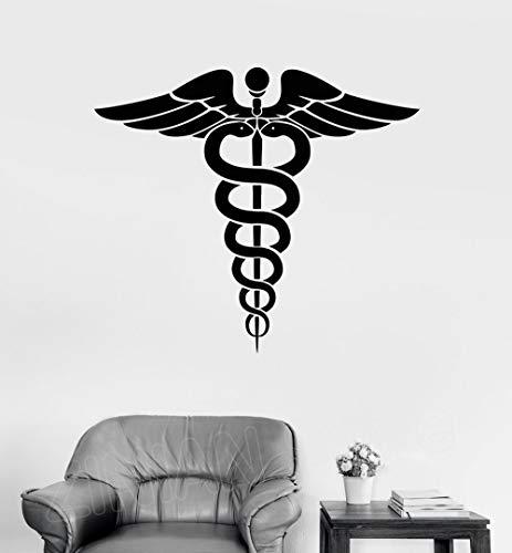Caduceus Vinyl Wandtattoo Medizin Apotheke Gesundheitswesen Kunst Decals Antike Griechenland Symbol Aufkleber Dekoration Tapete 64x56 cm