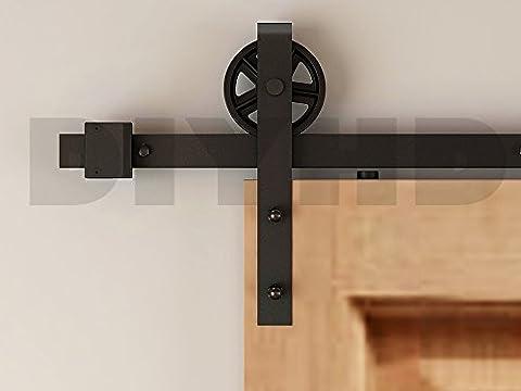 DIYHD Schwarz Eisen Oberfläche inneren Tür Schiebetür Barn Holz Hardware-Set(2.44m-single