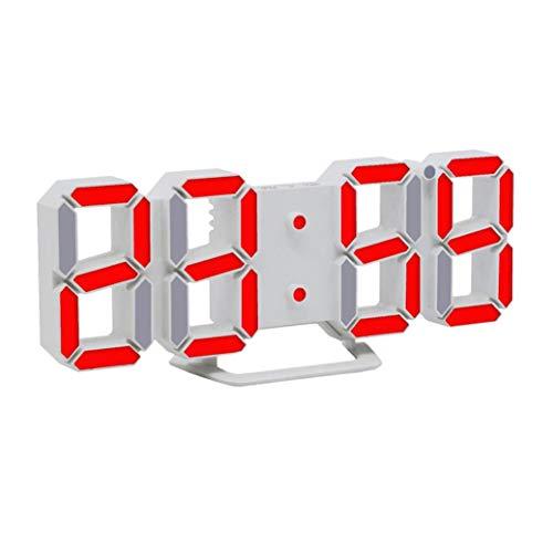 STRIR 3D Despertador Digital, LED Despertador Electrónico, Reloj Digital Moderno, Reloj de Pared, Visualización de hora 12h / 24h con Función de Alarma, Snooze y Memoria Automática, Luminancia Ajustable con 3 Niveles (Rojo)
