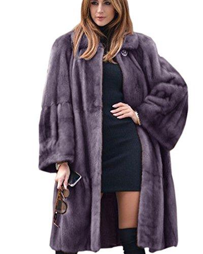 Aox Frauen Wintermode Warme Dicke Kunstpelz Gefüttert Langen Mantel Luxus Plus Größe Jacke Mantel Cape (38/40, Grey) -