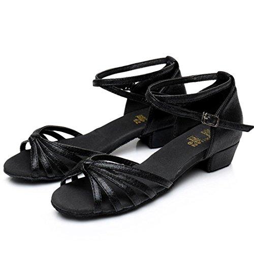 Wxmddn Ballo latino scarpe nero scarpe da ballo figli adulti morbido esercizio di suole di calzature scarpe da ballo quattro stagioni Nero