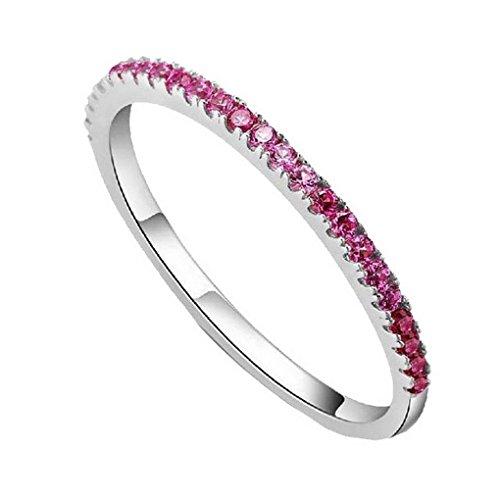 Topazio, pietra smeraldo, ametista, colore: rosso-Anello placcato in argento, colore: Red: Size 13, cod. ACME - Ametista Promise Ring