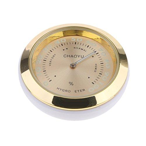 MagiDeal Autothermometer Hygrometer Analog Legierung Luftfeuchtigkeit, Schwarz/Blau/Gold - Gold