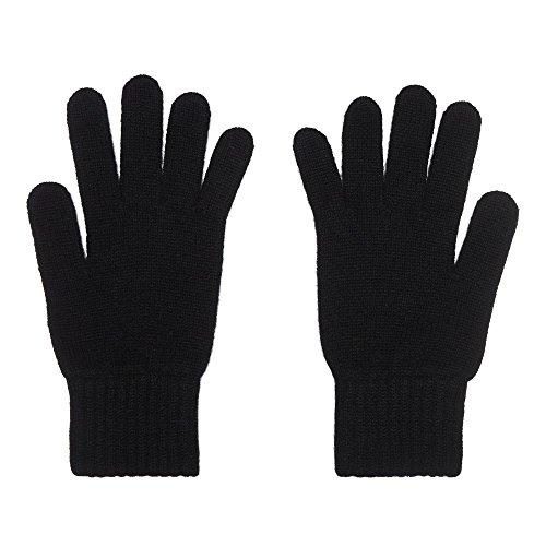 2-schichtige Damenhandschuhe aus purem Kaschmir, schwarz - Schwarz Pure Cashmere Damen-handschuhe