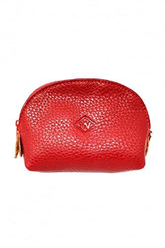 Porte monnaie zippé bourse Cuir Véritable Homme Femme 11x8x3,5cm (Rouge)