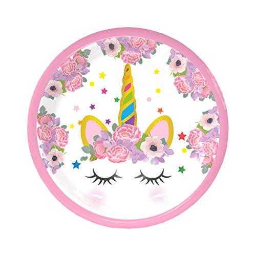 Ancjiape Verdienst Rosa Geburtstag Party Einhorn Deko Pappteller Pappteller Pappservietten Papierhüte Besteck Kindergeburtstag Party in feinem Stil 7 Inch Plate -
