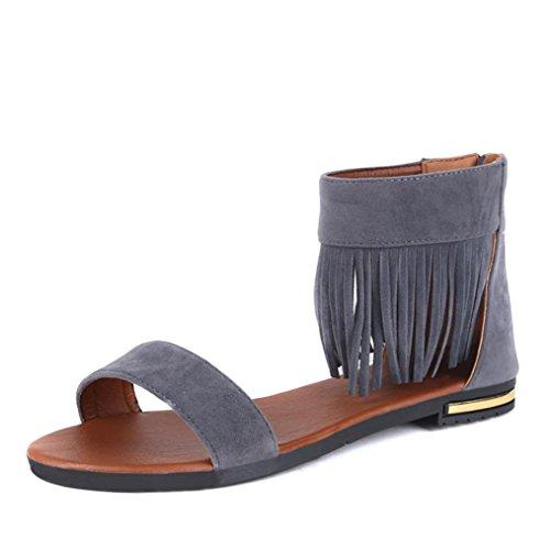 Transer ® Fashion femmes Mesdames été Peep-toe Tassel faible sandales tongs Gris