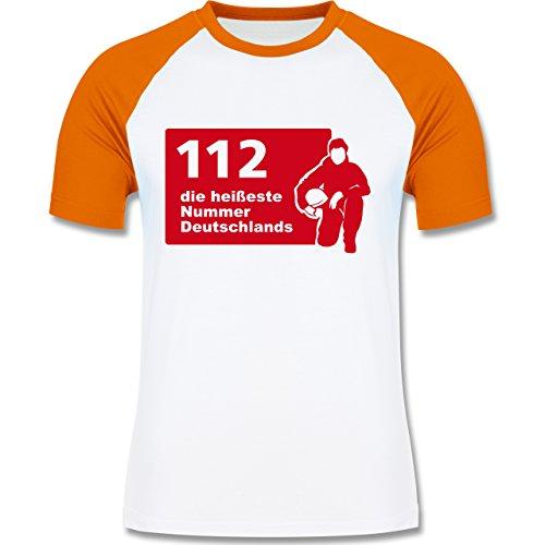 Feuerwehr - 112 die heißeste Nummer der Stadt - zweifarbiges Baseballshirt für Männer Weiß/Orange