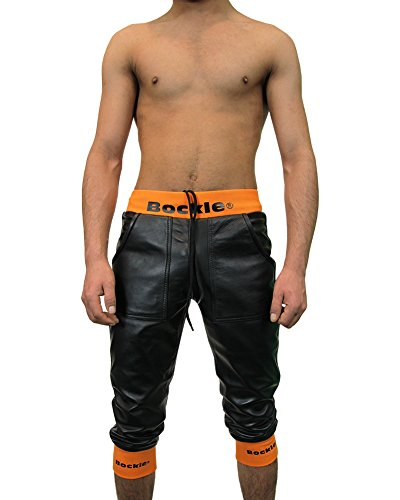 Bockle® Loosely Schwarze Herren kurze Lederhose mit Stretchbund Leder Short Schwarz