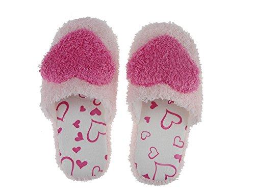 Damen Mädchen Weiche Plüsch Hausschuhe Pantoffeln Slippers mit mit Super Süße Herz Motiv für Winter Herbst Frühling (European size 36-37) Rosa-A