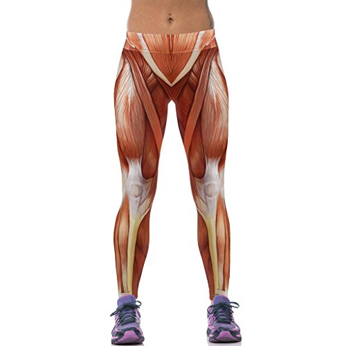 Damen Mächtige Muskel Yoga Sport Leggins Breite Bund Strumpfhosen