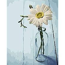 DAMENGXIANG DIY Pintado A Mano Números Pintura Al Óleo Botella De Vidrio Flor Moderna Imágenes De
