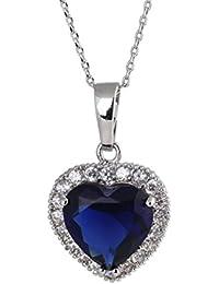 18 quilates de oro blanco plateado del corazón del cristal de zafiro Elementos Océano austriaca Diamond collar de la aleación del embutido