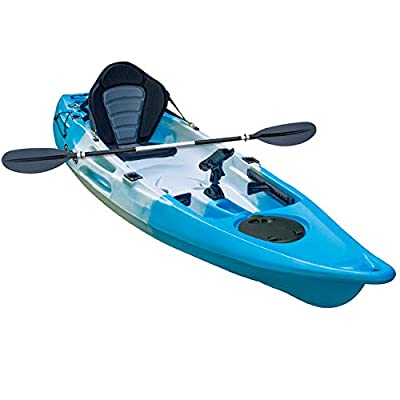 GoSea Glide Single Sit on Top Fishing Kayaks Ultimate Bundle with Paddle and Ultimate Padded Seat | Premium 1+1 Kayak for Adult with Child Seat Ideal for Sea Surf
