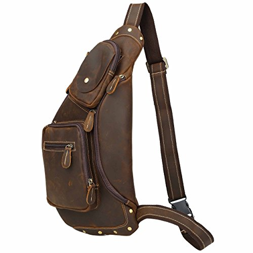 812a1b5663d5 Men Leather Chest Shoulder Sling Bag Cross Body Retro Outdoor Backpack Brown