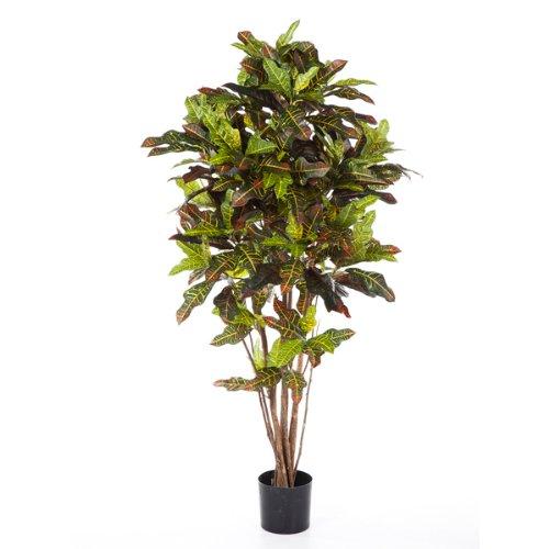 artplants – Künstlicher Kroton Baum Casey, 340 Blätter, grün-gelb-rot, 150 cm – Kunststoff Pflanzen Busch/Kleiner Dekobaum