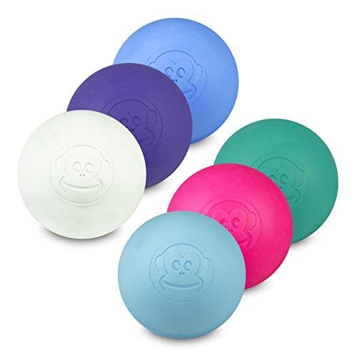 Preisvergleich Produktbild Captain LAX Massageball Original - Lacrosseball im 6er Pack in Violett,  Neon Pink,  Blau,  Hellblau,  Türkis,  Weiß,  aus Hartgummi,  Größe einzeln 6 x 6 cm für Triggerpunkt- & Faszienmassage