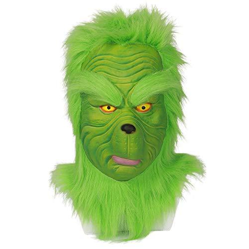 CYCG Grinch Latex Maske Deluxe Vollkopf Grün mit Haaren,Film Kostüm Zubehör für Erwachsenen Weihnachten Karneval Party (Grinch-1)