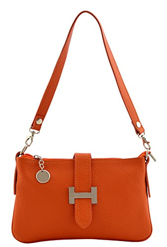 LIA Borsa Tracolla Donna Vera Pelle Cuoio Spalla Mano Moda Made in Italy Arancione