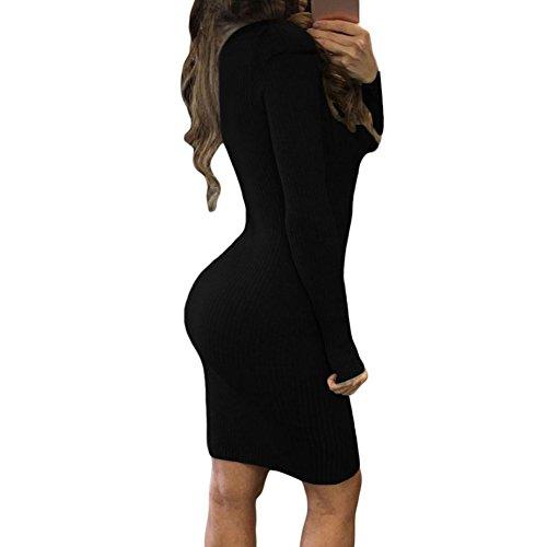 PU&PU Femmes Occasionnels / sorties Collier robe bandage, Deep V manches longues au-dessus du genou Grey