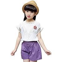 YT Pantalones Cortos de Camiseta de algodón de Encaje Casual para Mujer de niño Medio,Blanco,150cm