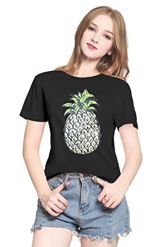 PINJIA Womens Cute Letter Printed Graphic Funny Tshirts Top Tees(MX15) (Black Pineapple, Small) (Tee-small Lustige T-shirt Black)