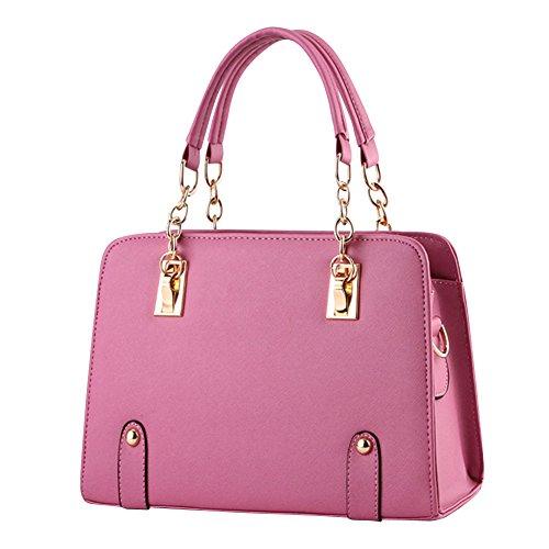Borse a Mano per Donna in PU Pelle con Tracolla di Colore Solido Rosa2