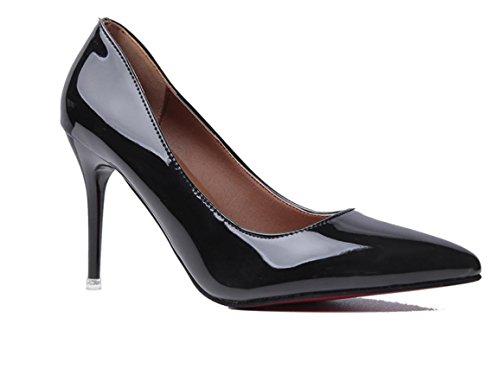 YCMDM FEMME Dégradé à deux couleurs pointues bouche superficielle en cuir à talons hauts banquet de mode avec des ensembles minces de chaussures Black