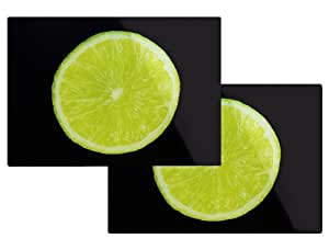 Set Of 2 Green Lime Fruit Toughened Glass Chopping Worktop Saver Protector Boards