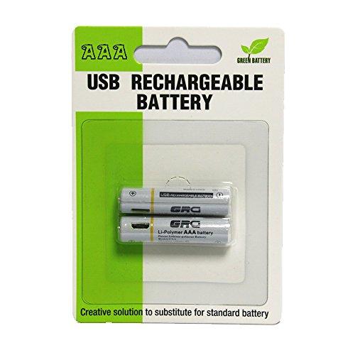OFT Vorgeladene AAA Lithium Usb Rechargeable Batterie (3000 Zyklen, typisch 1.5V 450 mAh)2 Stück