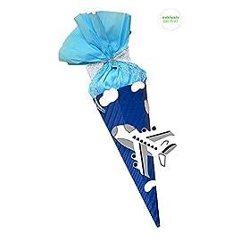 Schultte-Bastelset-Flieger-Flugzeug-blau-Zuckertte-aus-3D-Wellpappe-68cm-hoch