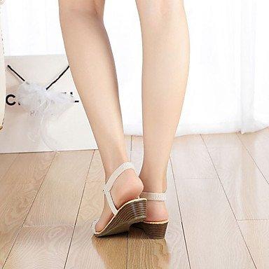 LvYuan Sandalen-Lässig-PU-Flacher Absatz-Komfort-Schwarz Weiß White