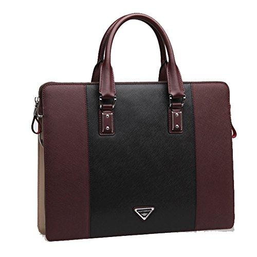 YAAGLE Echtes Leder Herren Rindleder Schultertasche Freizeit Handtasche Aktentasche Business Taschen-blue and red black and red