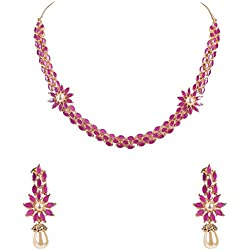 Ratnavali Jewels American Diamond Traditional Fashion Jewellery Red Ruby Pearl Necklace Pendant Set with Earring for Women/Girls RV3017R