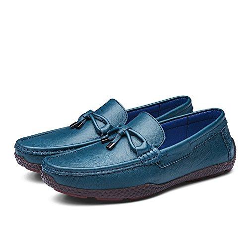 Rismart Hommes Respirant Réal Cuir de Vache Conduite Flâneur Chaussures Super Confortable Coutume Pantoufle Mocassins Bleu Royal