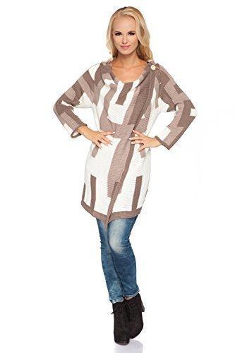 futuro FASHION DÉCONTRACTÉ chaude cardigan tricot hiver épais poncho avec boutons style Cascade acrylique Pull-over Veste - TAILLE 8-14 UK MV139 Cappuccino