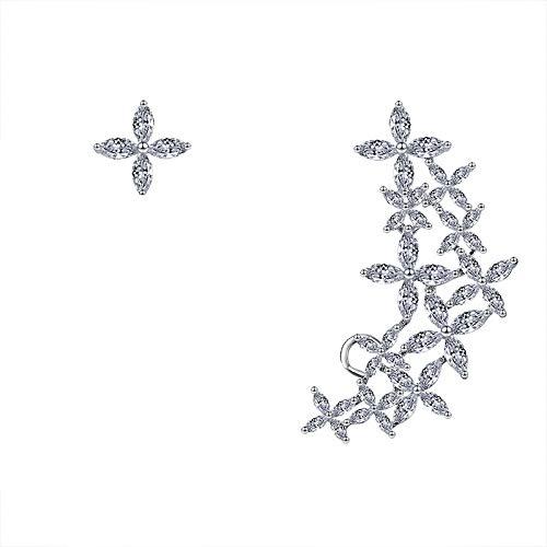 ZhongYi Einfach Bright Zirkon asymmetrische Cluster Ohrringe (Herren-diamant-cluster-ohrringe)