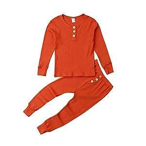 HONGHUIYANG Los niños del niño del Pijama camisón niños Muchacha de los niños Embroma la Ropa de Dormir Informal Dormir Robe Inicio Pijama térmica Conjuntos de otoño (Color : Orange, Size : M) 13
