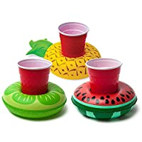 GooPro_zd Inflatable Drink Holder 3 Pcs Inflating Floating Drink Coasters Fruit Shape Drink Holders for Party Water Fun Kids Bath Toys